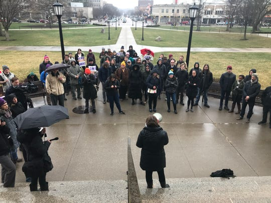 A few dozen non-tenured faculty protested for better