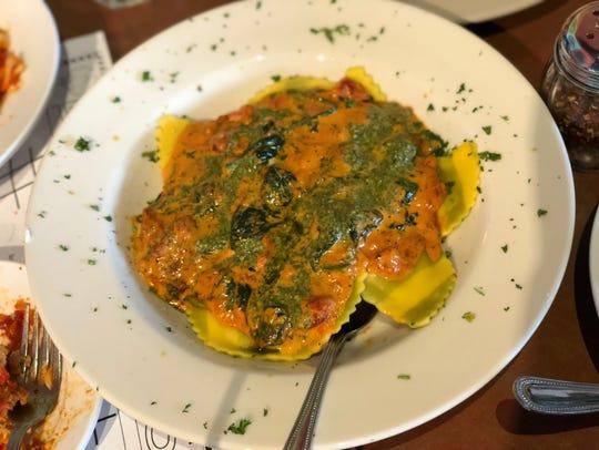 The mezzaluna ravioli dish.
