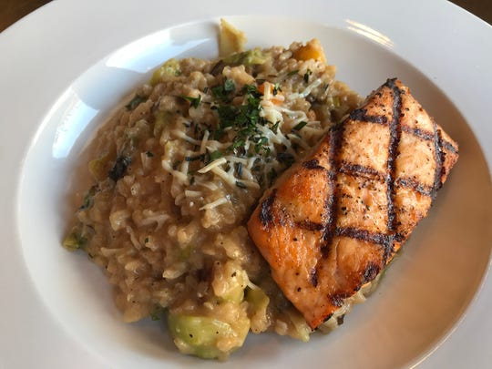 Seasonal risotto, vegetable selections are made by what's available, includes the option to add salmon, shrimp or chicken at Gardina's Wine Bar & Cafe in Oshkosh.