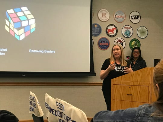 Lee Ann Holland is shown during THRIVE Conejo's presentation to the Conejo Valley Unified School District board in March.