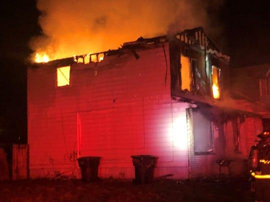 Fire engulfs a home on Danbury Street, in Detroit.