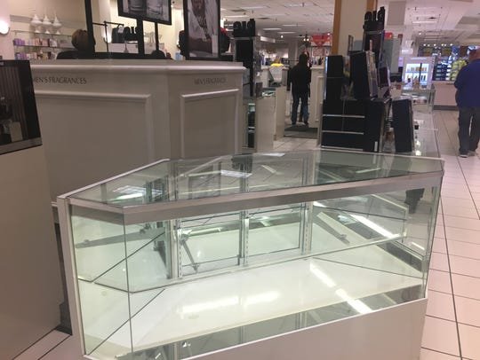 A fragrance counter at the Younkers in Valley West