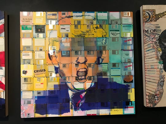 Taylor Smith's portrait of Donald Trump with labeled floppy disks.