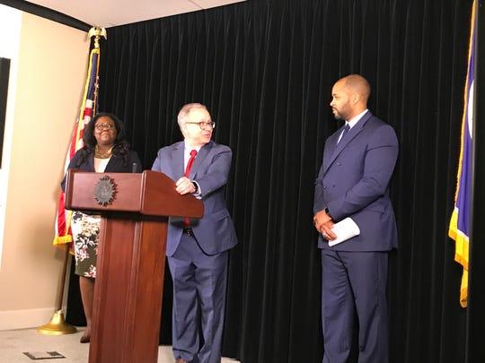 Mayor David Briley introduces Ashford Hughes Sr., right,