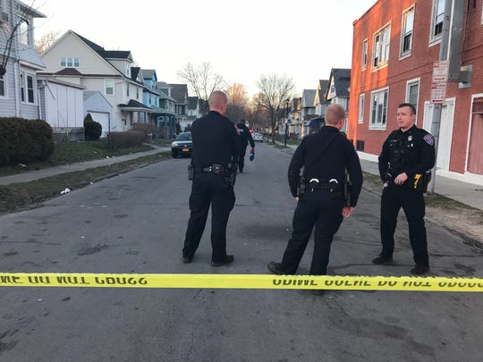 Police at the scene of a fatal shooting on Sidney Street on April 21, 2018.