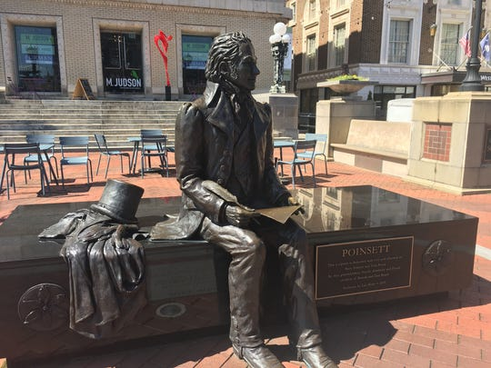 A statue of Joel Poinsett on Main Street is one of many examples of public art in downtown Greenville.