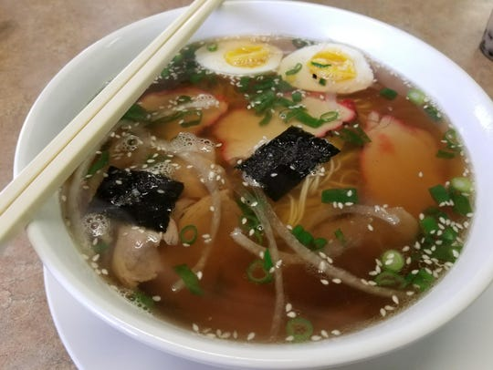 The Ramen Noodle ($6.95) dish at Zero Degree Asian restaurant is served withramen noodles, egg, beef and chashu (pork belly).