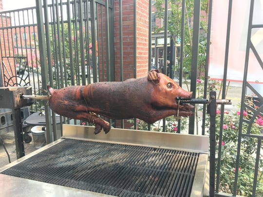 Pig on a barbecue spit