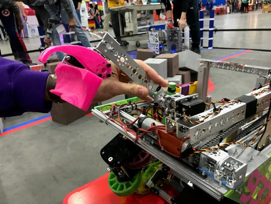 A 3D-printed claw on a robot built by the team from