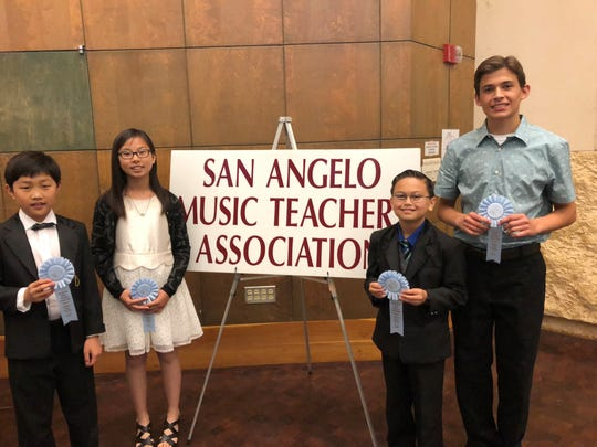 Students winning the Sonata/Sonatina Award were, Hael Park, left, Alayna Kang, Wesley Hale and Nathan Miller. Not pictured is Stella Zesch.