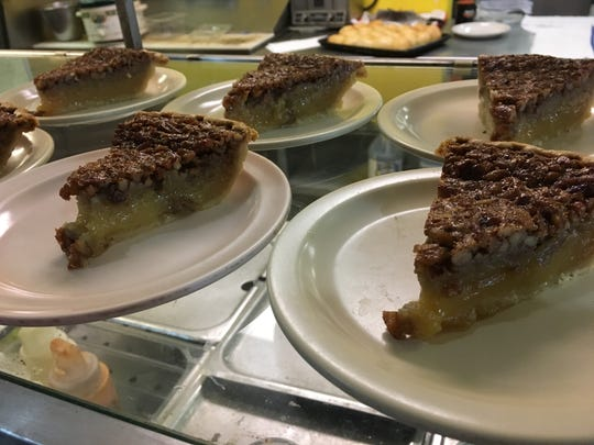 Slices of pecan pie are set out for lunch at The Pie