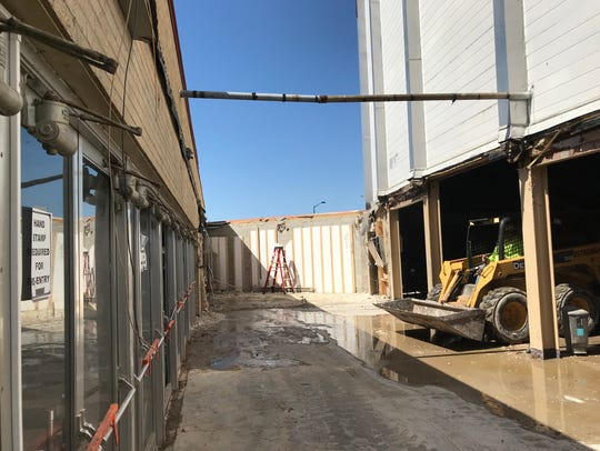 Debris has been cleared from a former breezway connecting