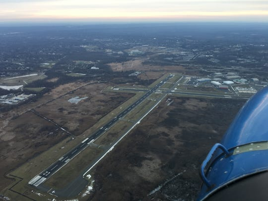 An aerial view of Morristown Airport where President Donald Trump flies into when he visits Trump National Golf Club in Bedminster. When the Bedminster temporary flight restrictions are in effect Morristown Airport is close to the highly restricted inner security circle.