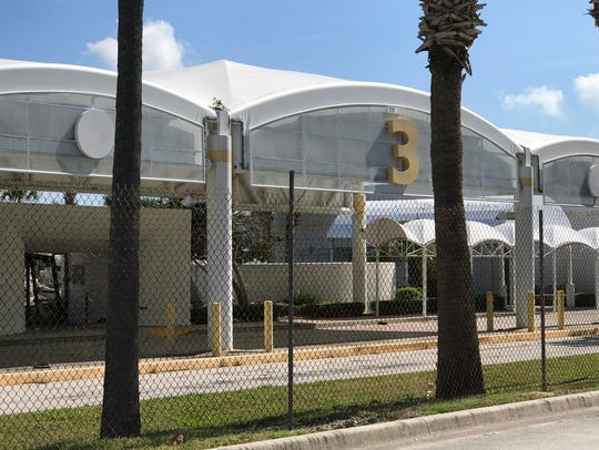 Terminal 3 was razed Thursday at Port Canaveral to