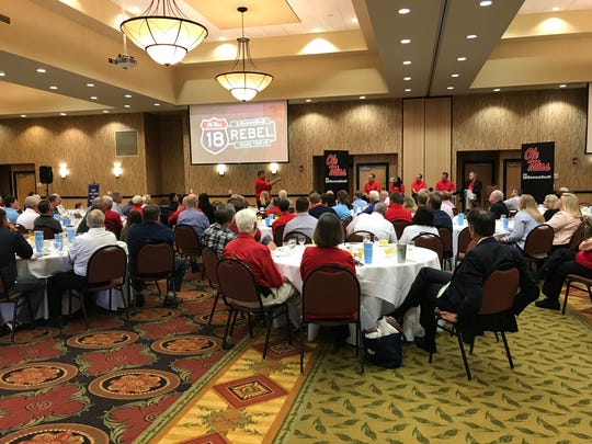 Matt Luke speaks to Ole Miss fans in Tupelo during the Rebel Road Trip.