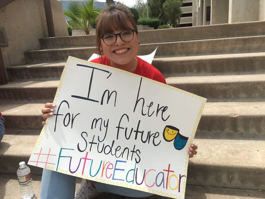 Brenda Batres, a theater education major, rallied at