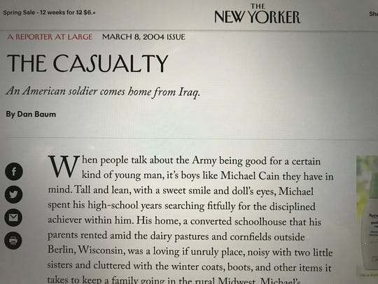 The feature-length piece in The New Yorker on March 8, 2004, as seen on its website, raised the public's awareness of Michael Cain and his injuries.