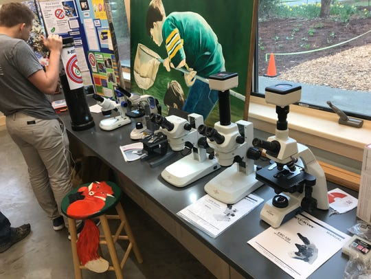 A display of microscopes at the Thielke Arboretum's