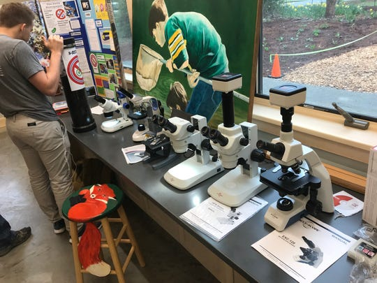 A display of microscopes at the Thielke Arboretum's Environmental Education Center.