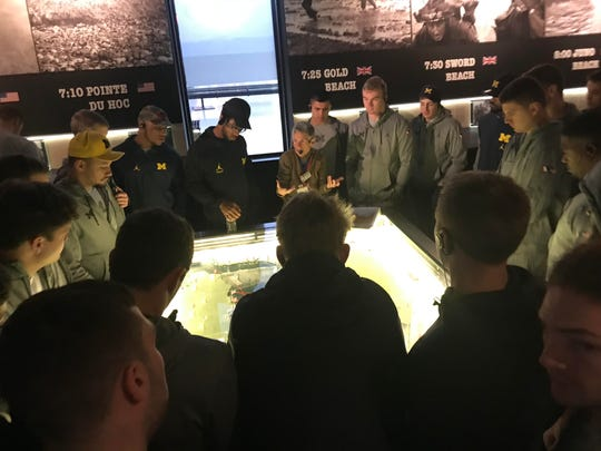 Michigan players visit the Mémorial de Caen museum in France on Sunday, April 29, 2018.