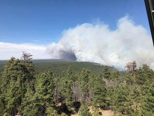 An aerial view of the Tinder Fire burning in Coconino