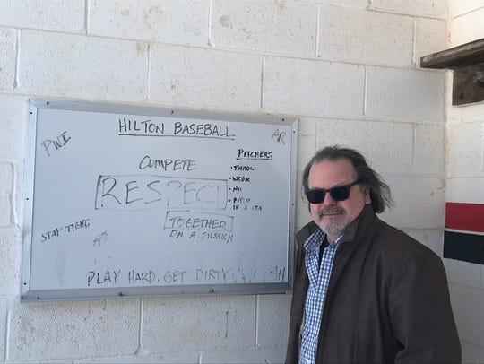 John Hendry visiting the Hilton Cadets dugout