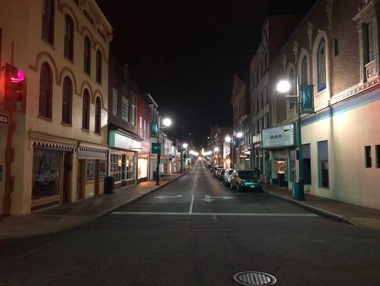 Downtown Staunton at night.
