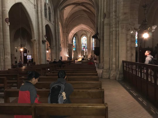 A look inside Saint-Pierre de Montmartre, a church built in 1147, on Tuesday, May 1, 2018 in Paris.
