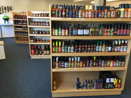 Sauces and seasonings on display at Hotheads Pepper