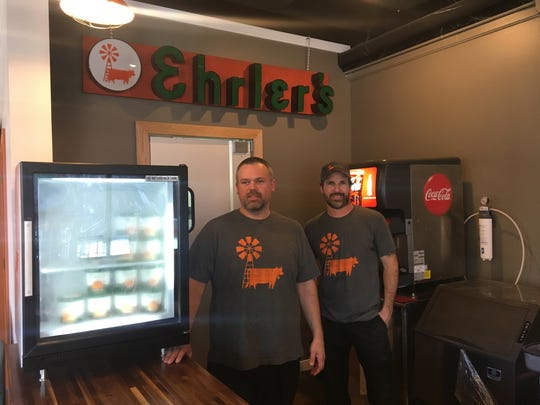 Bradley Hill and Chris Kersey, who bought Erhler's Ice Cream three years ago, are preparing to open the company's first storefront in 15 years. The business, which dates back more than 150 years in the community, has been operating out of the Kentucky Fair and Expo Center and Papa Johns Stadium for the past several years.