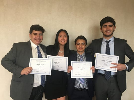 Left to right: Westfield High School junior Justin Joseph, freshman Kailey Zhao, junior Thomas Rea, and junior Nicolas Guerriero were among 39 members of the WHS Youth and Government (YAG) Club who participated in the 80 Annual New Jersey Youth and Government (NJ YAG) Conference, a legislative learning simulation, from April 13-15.  The four  received the honor of being selected to attend the Conference of National Affairs (CONA) in North Carolina this summer.