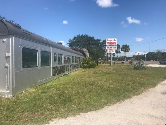 The twin Pullman train cars of Grandpa's Steakhouse have become the unofficial welcome sign to Cocoa.