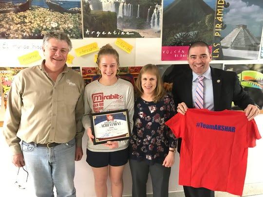 Bainbridge-Guilford Junior-Senior High School senior Molly O'Hara was recognized by Senator Fred Akshar as one of Akshar's All-Stars.