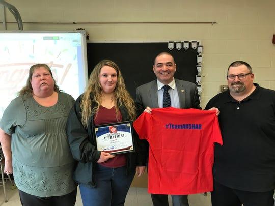Spencer - Van Etten High School senior Faith Kelly was recognized by Senator Fred Akshar as one of Akshar's All-Stars.