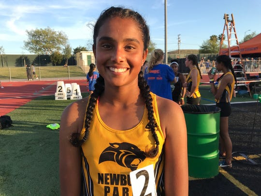 Newbury Park High sophomore Archana Mohandas won the girls 3,200 at the Marmonte League championships on Friday at Thousand Oaks High.