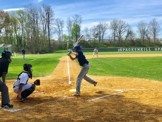 Pine Plains sophomore Adam Funk takes a swing during