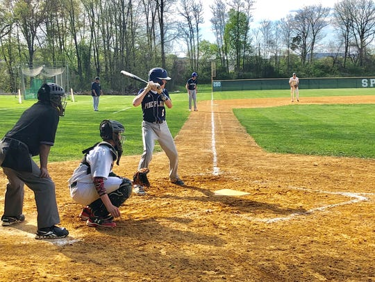 Pine Plains' Tyler Funk bats against Spackenkill during