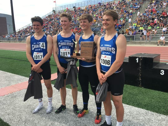 St. Thomas More's record-setting sprint medley team.