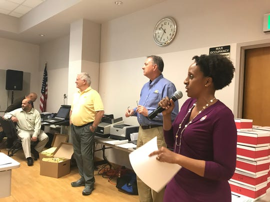 Oxnard City Clerk Michelle Ascencion, right, thanks her staff and other election workers after ballots were counted on May 1.