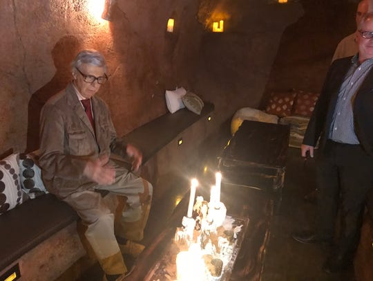 The Amazing Kreskin explores the wine cave grotto at