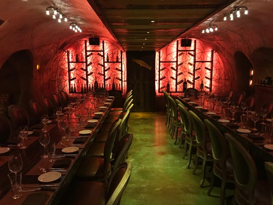 The wine cave at Rails Steakhouse in the Towaco section