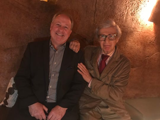 Rails Steakhouse manager Micael Mulligan with the Amazing Kreskin in the wine cave grotto at Rails Steakhouse in the Towaco section of Montville. May 8, 2018