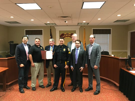 The Verona Township Council makes a proclamation on May 7, 2018, honoring Sgt. Timothy Banta, Sgt. Anthony Condorelli, Detective Joel Martin, and police officers Michael Barone, Erin McGarrity and Brendan Huber, for a January 2017 response to a distraught woman's threat. Banta is to receive the 200 Club of Essex's Valor Award for his involvement.