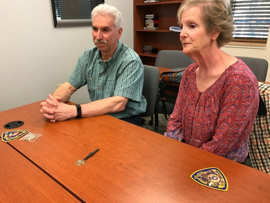 Tom Luciani and Janice Sannick discuss their cousin, Dan Battaglia, who was a World War I veteran and Wanaque resident. Police presented them with a medal that was found on the side of a road belonging to Battaglia.