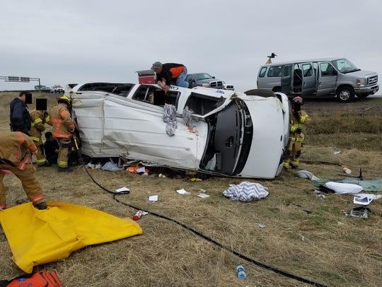 A van crash near Hermiston, Oregon.Feb. 1, 2018