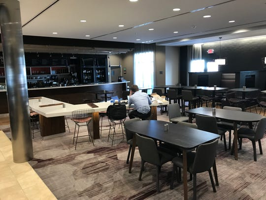 The Courtyard by Marriott in downtown Albion features The Bistro for hungry and thirsty guests.