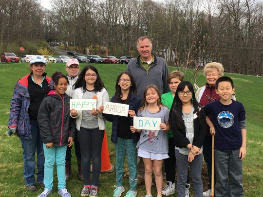 Taking part in the April 27 tree planting honoring Arbor Day were (left to right): Ann Departo, Chloe Upton, Vonni Mott, Hannah Ghafari, Kayla Wang, Michael Galbraith, Sienna DiGiacomo, Jake Gonzalez, Jocelyn Yeh, Phyliss Juette, and Kaden Li.