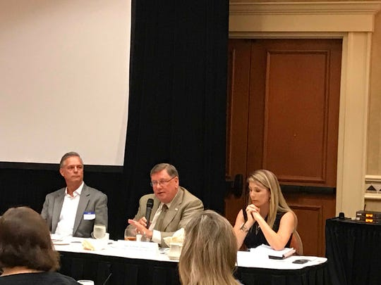 Panelists John Ingoglia, Dan Summers and Brandie Packard-Dickerson at the Above Board Chamber of Florida Disaster Preparation luncheon on Monday, May 7, 2018.