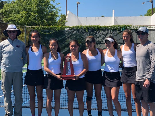 Chiles' girls tennis team after capturing a district