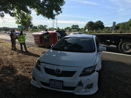 A traffic collision involving at least five vehicles, including one that overturned, created delays for commuters Wednesday morning on Highway 44 near Sundial Bridge Drive in Redding. None of those drivers in the multi-vehicle collision was seriously hurt.